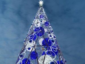 На ВДНХ появилась 27-метровая светящаяся чудо-ёлка